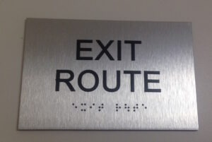 Brushed Aluminum Exit Route Sign