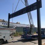 Archway being installed w crane