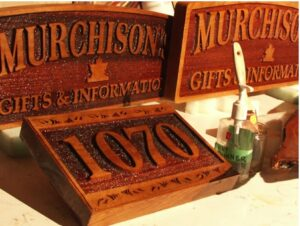 stained Sand Blast Signs