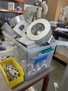 Channel letter set ready for paint