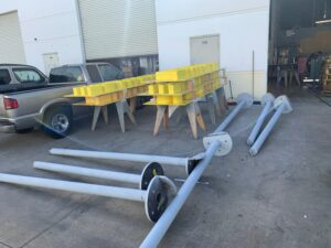 steel poles in production